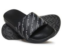 Gummisandalen mit Prägung schwarz