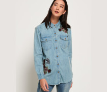 Übergroßes Jeanshemd blau