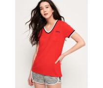 Retro T-Shirt mit V-Ausschnitt rot