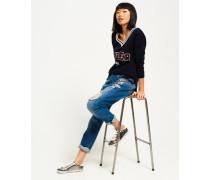 Harper Boyfriend-Jeans mit Abzeichen blau