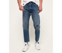 Übergroße Jeans mit konischem Beinschnitt blau