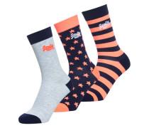 Socken in Neonfarben mit Sternmotiv im 3er-Pack