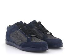 Sneaker Miami Veloursleder blau Stoff Glitzer silber
