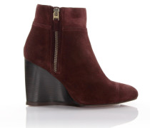 Wedge Ankle Boots Veloursleder bordeaux