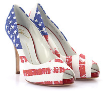 Peeptoe Pumps Stoff USA Flagge
