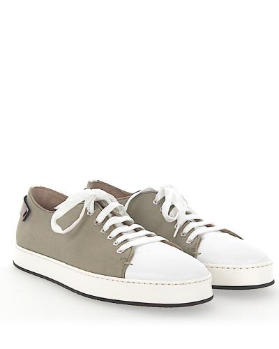 Santoni Herren Sneaker 20599 Canvas Glattleder braun weiß Visa-Zahlung Online Verkauf Niedrig Kosten pCTRm2dPw