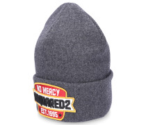Mütze Beanie NO MERCY Wolle Logo-Patch