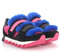 Sneakers Leder Pelz Details blau