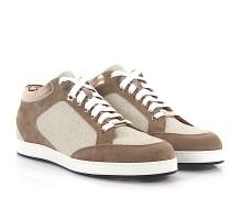 Sneakers MIAMI Veloursleder braun Glitzer platin