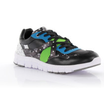 Sneaker low Kalbsleder Polyester blau grün weiß