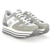 Sneaker H283 Nubukleder Textil Glitzer grau silber