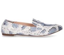 Loafer D538056 Kalbsleder Schlangenlederprägung weiß