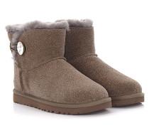 Stiefeletten Boots MINI BAILEY BUTTON BLING Veloursleder taupe Glitzer Schmuckstein
