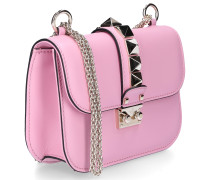 Handtasche B0312 Kalbsleder Nieten Logo rosa