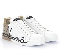 Sneaker PORTOFINO LIGHT Nappaleder weiss Gold lackiert