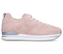 Sneaker low H222 Veloursleder Lochmuster Logo altrosa
