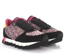 Sneakers Capri Veloursleder Lackleder schwarz Glitzer rosa