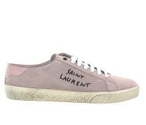 Sneaker low Kalbsleder Veloursleder Logo flieder