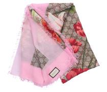 Schal 3G856 Baumwolle Logo Blumenmuster rosa beige
