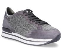 Sneaker H222 Textil Veloursleder Glitzer silber