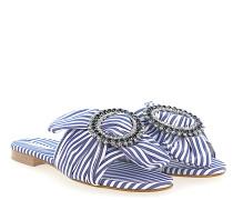 Pantoletten Textil Kristallverzierung weiß