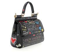 Handtasche Schultertasche Leder geprägt Graffiti