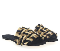Pantoletten 112875 Textil Geflochten schwarz