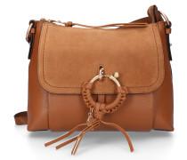 Handtasche JOAN Rindsleder Logo metallisch