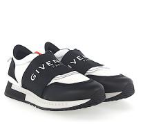Slip-On Sneaker Nylon Mesh weiss Leder schwarz