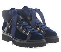 Stiefeletten Boots 56831 Samt blau Leder schwarz