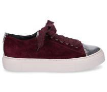 Sneaker low D925065 Lackleder Veloursleder bordeaux