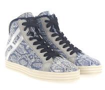 Sneaker high R182 Textil Veloursleder Prägung silber