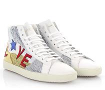 Sneaker High SL/06 Love Leder silber gold Glitzer