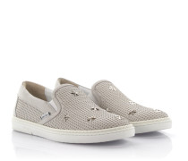 Sneakers Slip On Grove Leder Stern Nieten silber