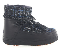 Snowboots LADY BLUE Glattleder Lammfell Lammleder