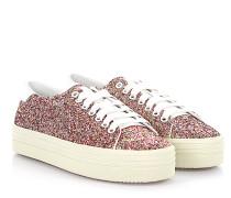 Sneaker SL/39 Plateau Leder weiß Textil Glitzer