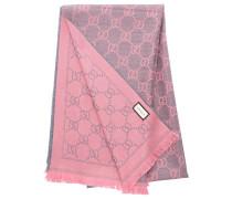 Schal 3G200 Wolljacquard Logo rosa grau