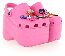 Pantoletten Clogs Gummi Logo rosa