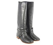 Stiefel 684220 Glattleder Metallisch Zierschnalle