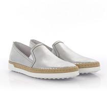 Sneakers Slip On Leder finished Baumwolle beige
