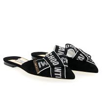 Pantoletten GRETCHEN FLAT Textil Veloursleder Logo