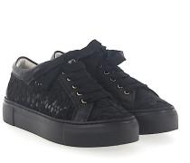 Sneaker D925070 Leder Nylongaze Blumenstickerei