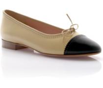 Ballerinas Leder beige schwarz