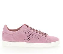Sneaker A0T490 Veloursleder Lochmuster rosé