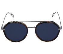Sonnenbrille Round 0219S3 Metall Schildkröte silber