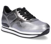 Sneaker Glattleder Lochmuster Logo