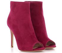 Ankle Boots Veloursleder pink