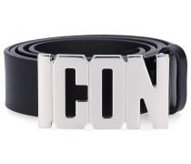 Gürtel PLAQUE Kalbsleder Logo Metallisch schwarz
