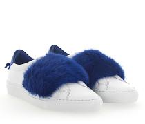 Slip-On Sneaker Leder weiss Nerz blau