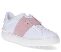 Sneaker low OPEN Kalbsleder Logo rosa schwarz